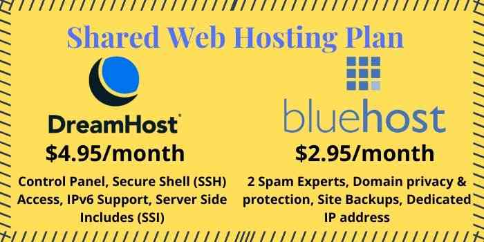 bluehost VS DreamHost Hosting Plans