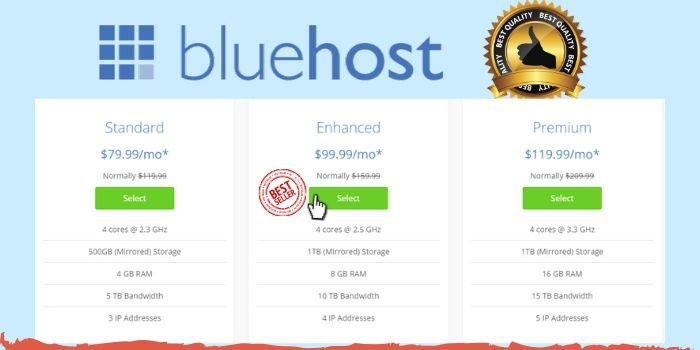BlueHost Dedicated Web Hosting Plans